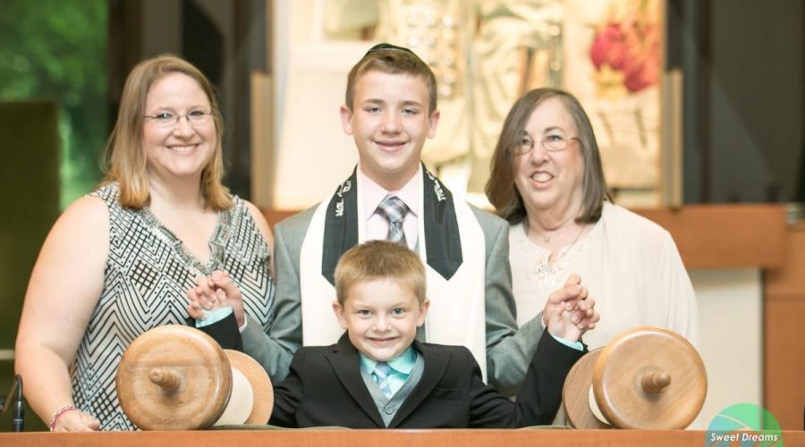 PJ Bar Mitzvah Family Portrait at Temple Sinai Bergen County NJ